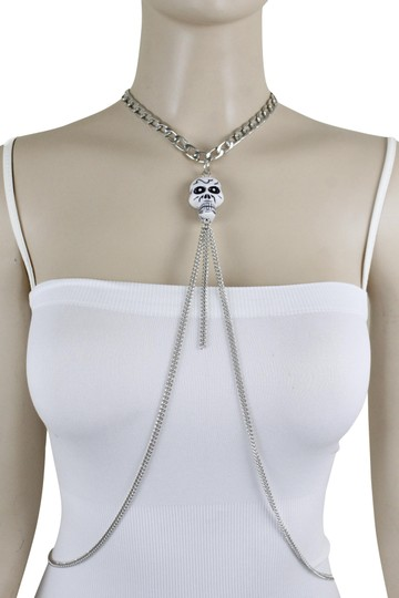 Other Women Silver Metal Necklace Skull Charm Fashion Body Jewelry Halloween Image 0
