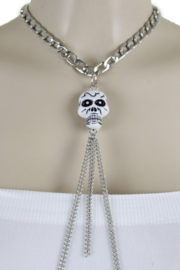 Other Women Silver Metal Necklace Skull Charm Fashion Body Jewelry Halloween Image 10