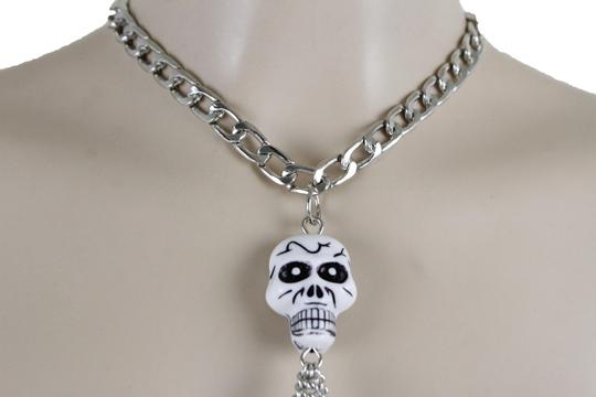 Other Women Silver Metal Necklace Skull Charm Fashion Body Jewelry Halloween Image 2