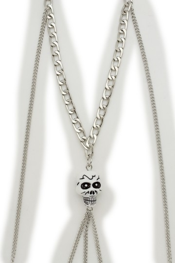 Other Women Silver Metal Necklace Skull Charm Fashion Body Jewelry Halloween Image 3
