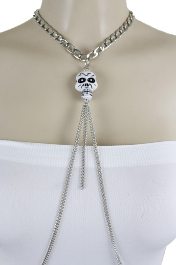 Other Women Silver Metal Necklace Skull Charm Fashion Body Jewelry Halloween Image 5