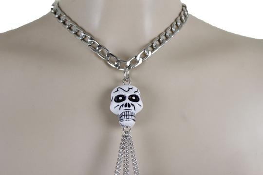 Other Women Silver Metal Necklace Skull Charm Fashion Body Jewelry Halloween Image 9