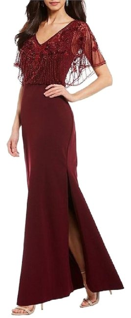 Item - Wine Red Beaded Flutter Sleeve Surplice Gown Long Formal Dress Size 10 (M)