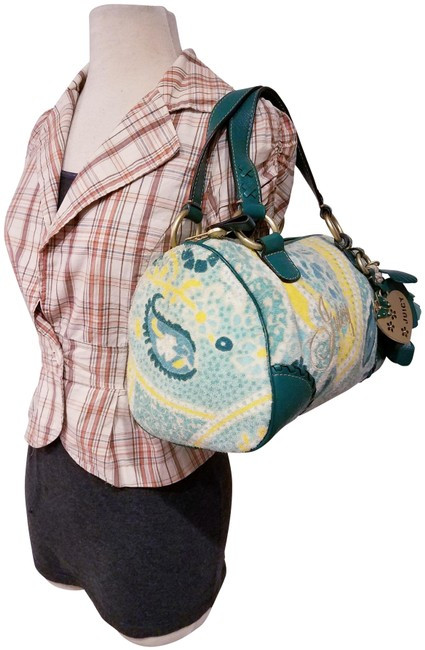 Item - Hobo Purse With Green Fabrics and Leather Trim Satchel