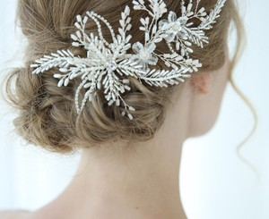 White Silver Bride Crystal Pin Large Flower Leaf Hair Accessory