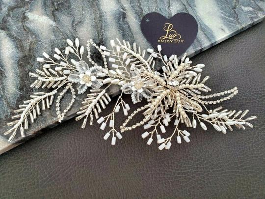 White Silver Bride Crystal Pin Large Flower Leaf Hair Accessory Image 5