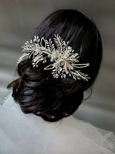 White Silver Bride Crystal Pin Large Flower Leaf Hair Accessory Image 6