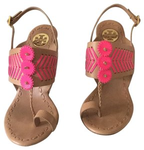 Tory Burch tan leather hot pink trim Sandals