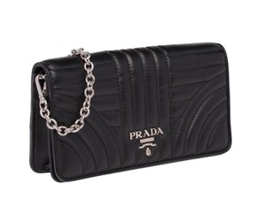 Prada NEW PRADA LEATHER BLACK CHAIN CROSSBODY WALLET BAG PURSE