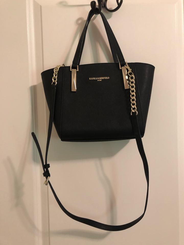 details for the cheapest attractive price Karl Lagerfeld Black Handbag with Gold Chain Purse Tote - Tradesy