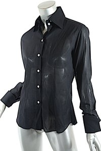Domenico Vacca Sewed By Hand Fine Cotton Sheer Cotton Button Down Shirt Black