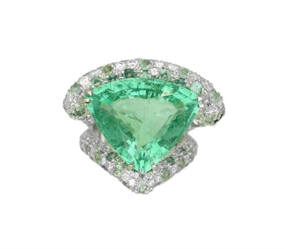 efd2c1d1ca513 Green Gia 15.56ct Natural Paraiba Tourmaline 18k White Gold Ring