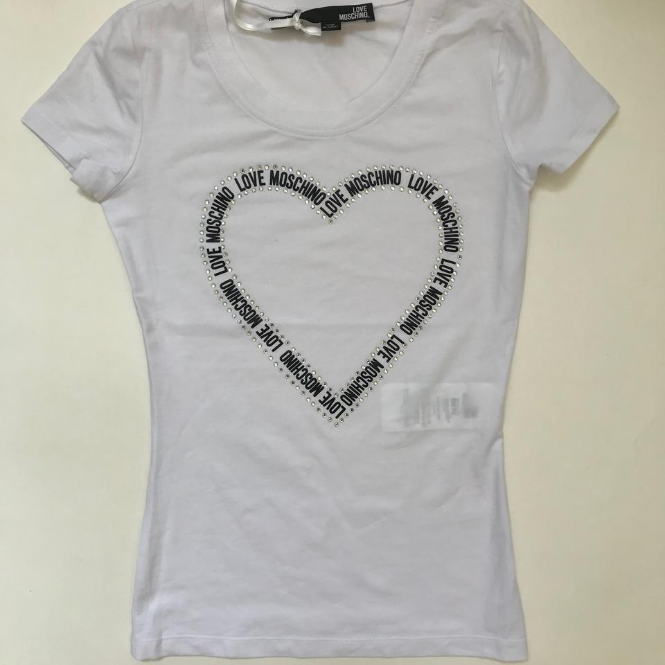 Love Moschino White Jersey Crystal embellished Stretch cotton Tee Shirt Size 2 (XS)