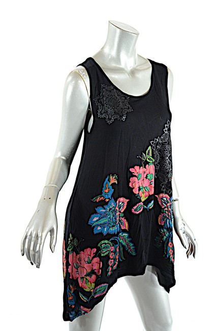 Item - Black Multicolor Multi Viscose Blend Floral Asym. Embroidery Beaded Tank Top/Cami Size 8 (M)