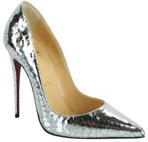 Christian Louboutin Pointed Toe Formal Silver Pumps