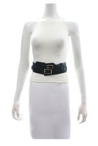Burberry Burberry Black Leather Double Buckle Belt Size Small