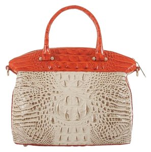 Brahmin Satchel in ivory and orange red