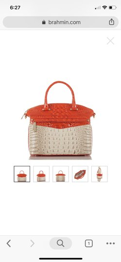 Brahmin Satchel in ivory and orange red Image 1