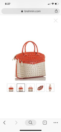 Brahmin Satchel in ivory and orange red Image 2