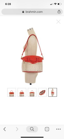 Brahmin Satchel in ivory and orange red Image 4