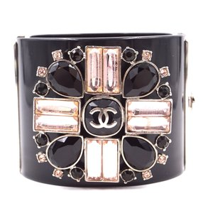 Chanel Rare CC crystals Flower silver Extra Wide Runway Cuff Bangle Bracelet