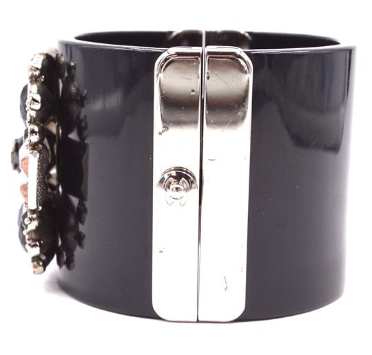 Chanel Rare CC crystals Flower silver Extra Wide Runway Cuff Bangle Bracelet Image 4