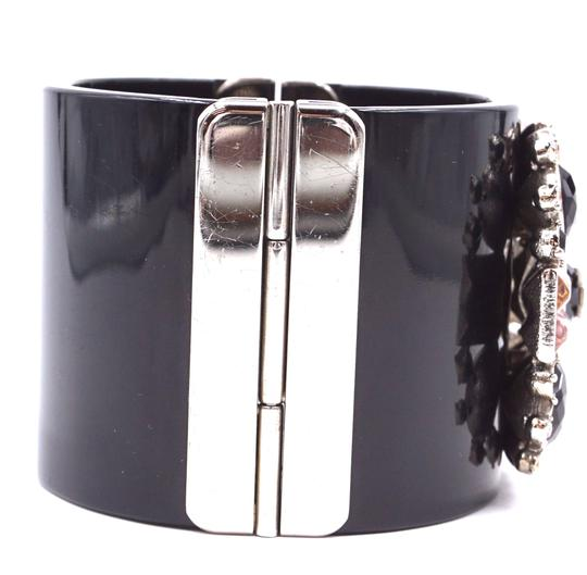 Chanel Rare CC crystals Flower silver Extra Wide Runway Cuff Bangle Bracelet Image 5