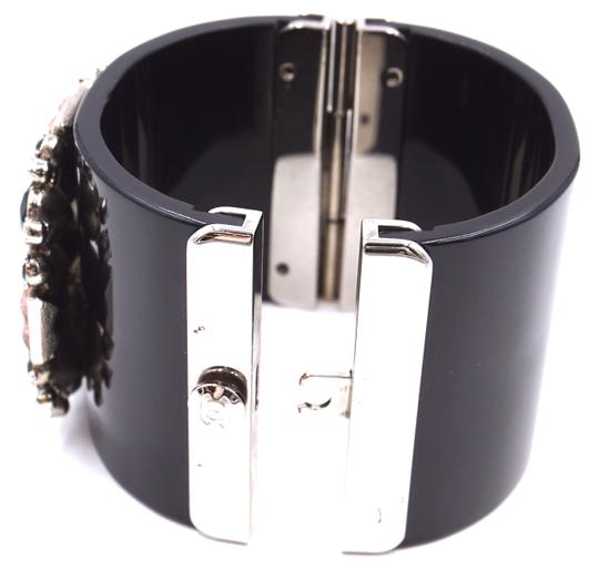 Chanel Rare CC crystals Flower silver Extra Wide Runway Cuff Bangle Bracelet Image 7