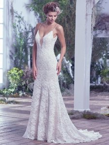 Maggie Sottero Ivory Over Light Gold Mietra Vintage Wedding Dress Size 6 (S)
