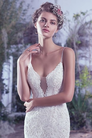 Maggie Sottero Ivory Over Light Gold Mietra Vintage Wedding Dress Size 6 (S) Image 1