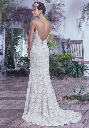 Maggie Sottero Ivory Over Light Gold Mietra Vintage Wedding Dress Size 6 (S) Image 2