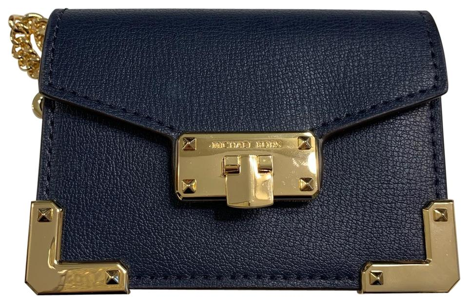 377ede8cef70 Michael Kors Navy Blue Kinsley Accordion Credit Card Case Leather Keychain  Wallet 69% off retail
