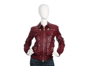 Gucci Bomber Burgundy Crinkled Leather Gc.eq0627.26 Military Jacket