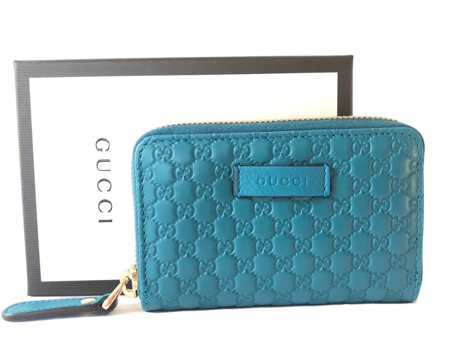 free shipping 4b1bb 25099 Gucci Cobalt Gg Microguccissima Zip Card Case Coin Wallet 33% off retail