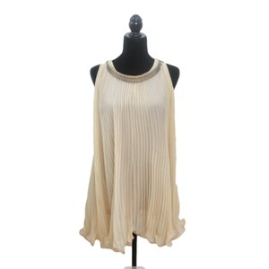 Chloé Creme/Beige/Gold Sheer Pleated Formal Swing Top-wedding Cocktail Dance Prom Homecoming Church Night Out Vintage Bridesmaid/Mob Dress Size 8 (M)