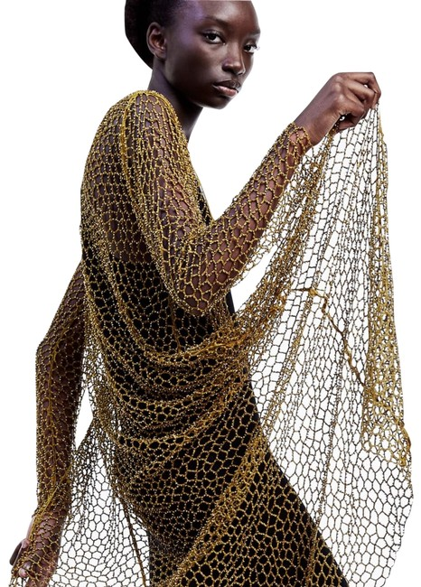 Item - Gold Limited Edition Long Mesh Beaded Cardigan Jacket Size 6 (S)