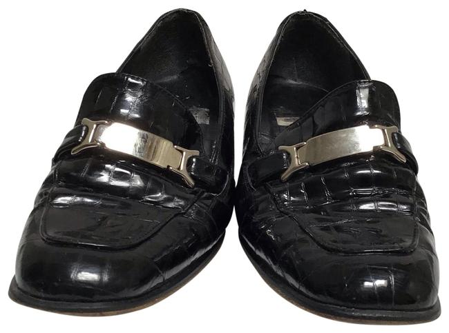 Item - Black Leather Loafers Flats Size US 7.5 Regular (M, B)