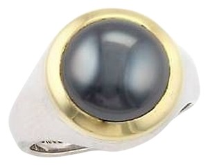 Tiffany & Co. Tiffany Co. Sterling Silver 18k Y. Gold Hematite Cabochon Ring - Size 6.25