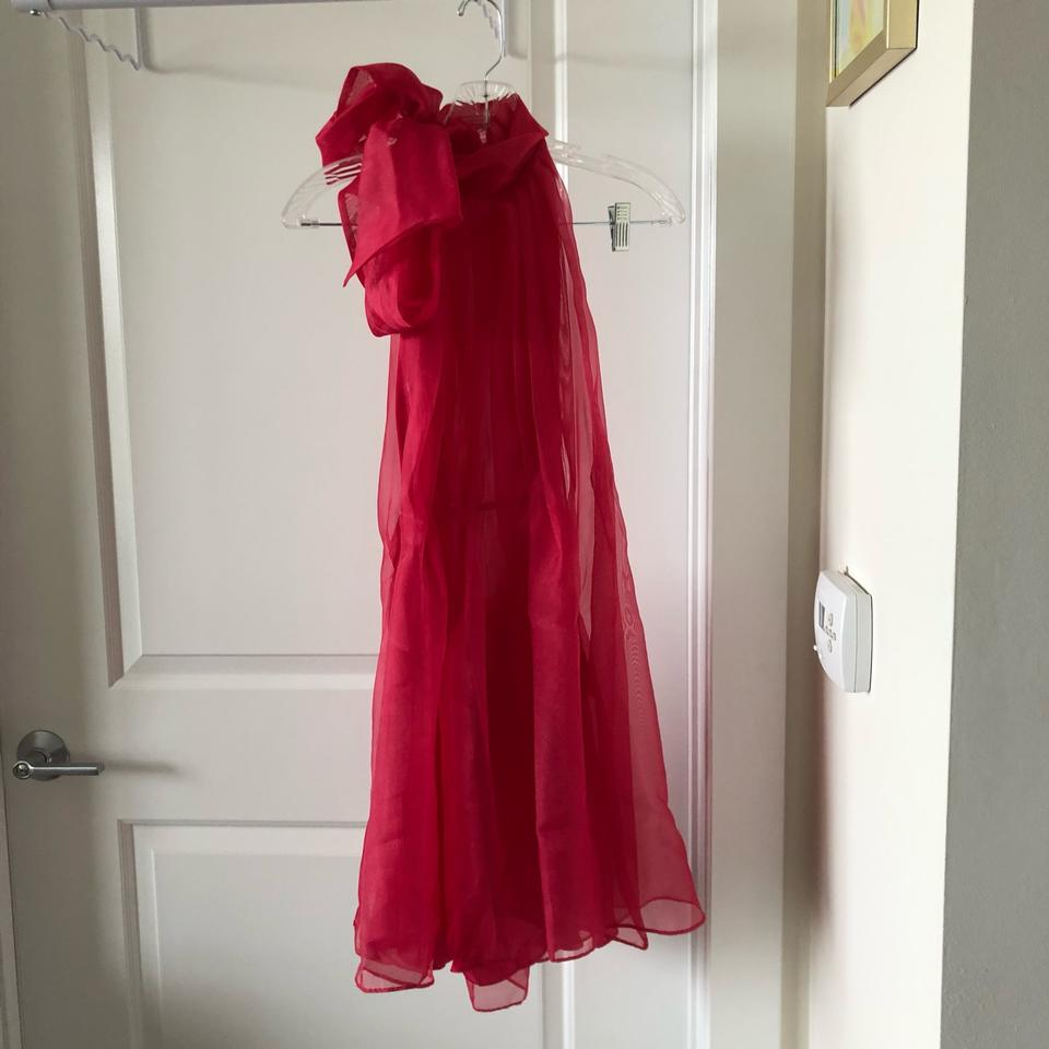 Zara Fuchsia Mini Organza Dress Skirt Size 8 M 29 30