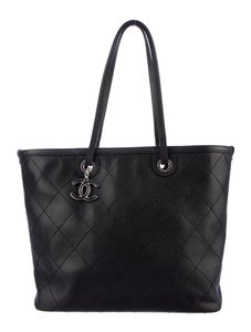 Chanel Gst Shopper Shopping Fever Grand Shopping Classic Flap Tote in Black Silver