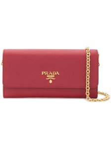 Prada NEW! Saffiano Wallet on a Chain Red Gold