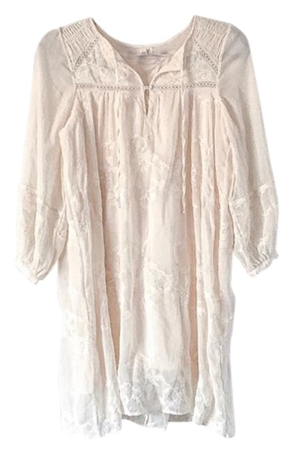 Item - Ivory Tiny Flower Embroidered Short Casual Dress Size Petite 2 (XS)
