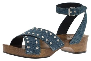 Saint Laurent Studded Denim Blue Sandals
