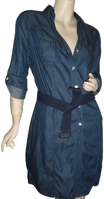 Item - Denim Blue Button Down Open Front Strap Sleeves Tapered Seams Short Work/Office Dress Size 10 (M)
