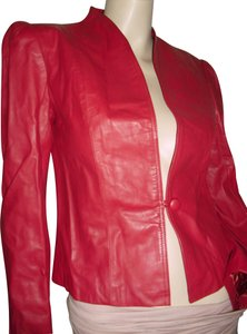Casual Corner Stylish Unique One Button Closure Shapely Fitted Style red Leather Jacket