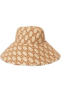 Gucci Watersnake-trimmed embroidered raffia hat X SMALL