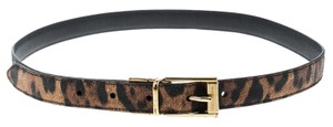 Dolce&Gabbana Brown Leopard Print Leather Belt 85cm