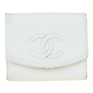 Chanel CHANEL CC Logo Bifold Wallet Purse Caviar Leather White France