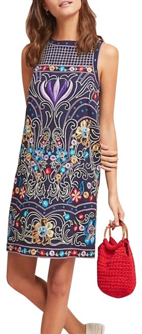 Item - Navy Color Twice Maeve Kira Embroidered Tunic It's Like New Just Worn Short Night Out Dress Size Petite 10 (M)