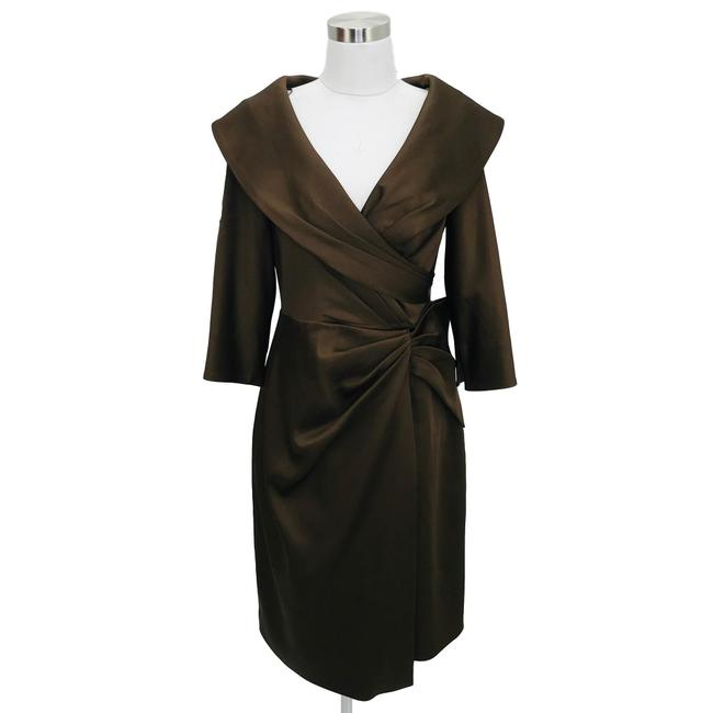 Item - Brown N823 Designer Small Solid Satin Wrap Mid-length Formal Dress Size 6 (S)